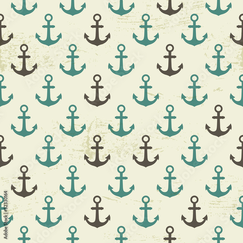 Seamless vintage pattern with anchor, marine background