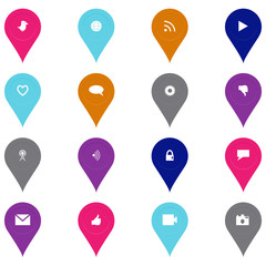 Social technology and media icon set in pinpoint shape