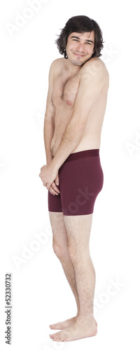 Isolated Timid Underwear Guy - Side View