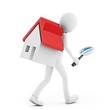 3d man with a magnifying glass and a house searching