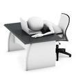 3d man sleeping on a desk with laptop