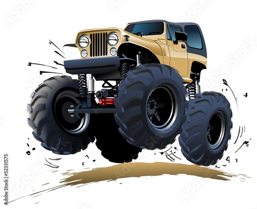 Foto op Canvas Cartoon cars Cartoon Monster Truck