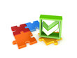 Colorful puzzles and green tick mark.