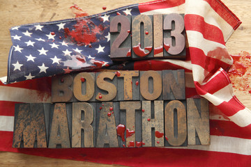 bloody American flag with Boston Marathon words