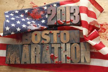 bloody American flag with Boston Marathon words
