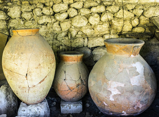 Ancient clay pots excavations into Greek city ruins