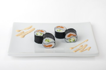 Yin Yang Roll with salmon and cucumber