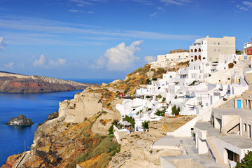 Village of Oia on the slopes of the caldera on the  island of Sa
