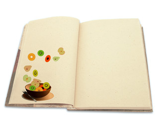 Recipe book ilustrated with fruit salad