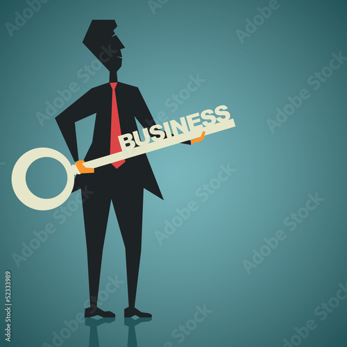 business key in businessmen hand