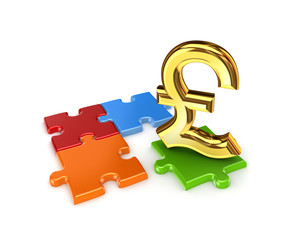 Puzzles and symbol of Pound Sterling.