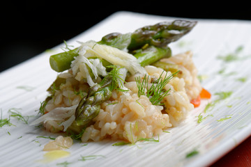 Vegetarian Risotto with asparagus and Parmesan cheese