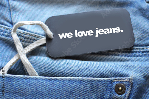 jeans and label with words