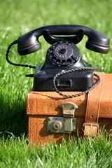 altes Telefon steht auf antikem Lederkoffer Garten