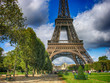 Paris. Wonderful september colors of Eiffel Tower and Champs de
