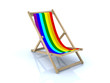 beach chair with peace flag
