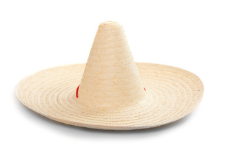 A mexican sombrero on a white background.