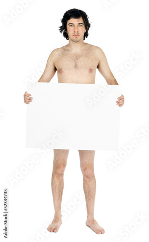Isolated Caucasian Adult Nude Man Holding Sign
