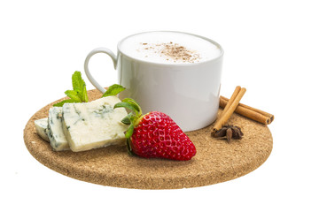 Coffee with cheese and strawberry