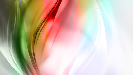 Abstract pink and green waves on white background