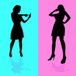girl talking by mobile phone vector illustration