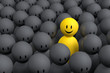 3d yellow man comes out from a gray crowd
