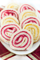 Strawberry and lemon jam swiss roll, closeup