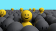 Some 3d yellow men come out from a gray crowd