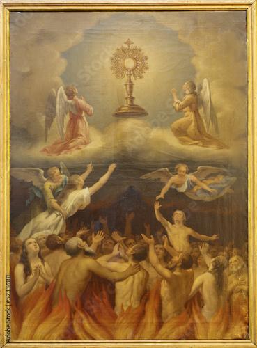 Leinwanddruck Bild Madrid - Eucharist and the souls in purgatory.