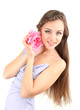 Young woman with beautiful hairstyle and flower, isolated