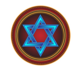Embroidered button with the star of David.Vector
