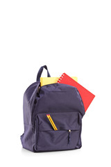 Studio shot of a school backpack with books