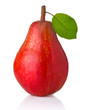 Ripe red pear fruit with green leaves isolated