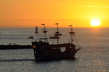 Pirate boat on a sunset cruise at Clearwater Beach Florida USA