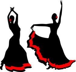 Two silhouettes of flamenco dancer