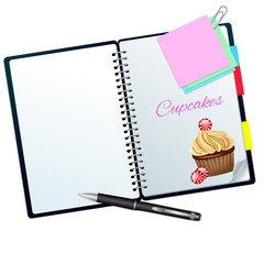 Recipe book ilustrated with candy cupcake