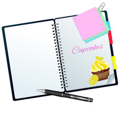 Recipe book ilustrated with lemon cupcake