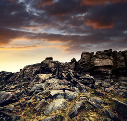 curbar edge rock face