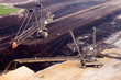 A back-loader and excavator in a brown-coal mine