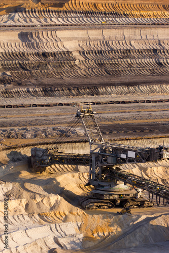 A giant bucket-wheel excavator in a brown-coal mine