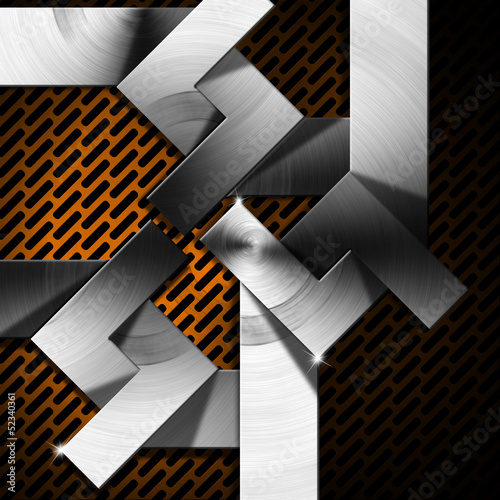 Orange and Metal Geometric Background
