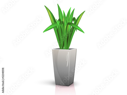 grey vase with flower