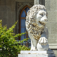 Lion sculpture in Vorontsov Palace in Alupka, Crimea, Ukraine.