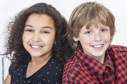 Interracial Boy & Girl Children Smiling