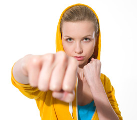 Teenager girl punching