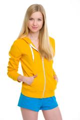 Portrait of happy teenager girl