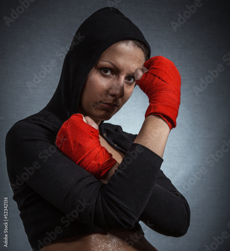 Hard sport woman ready for fight
