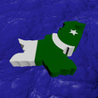 Pakistan map flag in abstract ocean illustration
