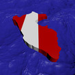 Peru map flag in abstract ocean illustration