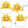 Funny sun with blank banner